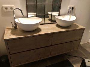 Steigerhouten badkamer meubel top