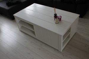 tv meubel van steigerhout met ral9010 afwerking