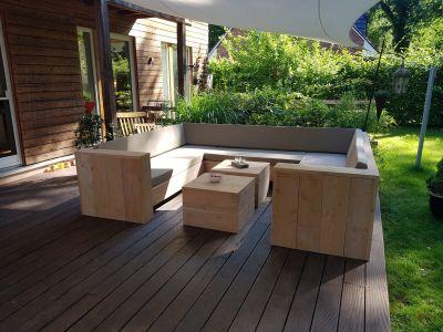 Steigerhouten U loungebank van steigerhout