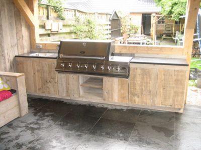 Steigerhouten buitenkeuken  bbq barbecue